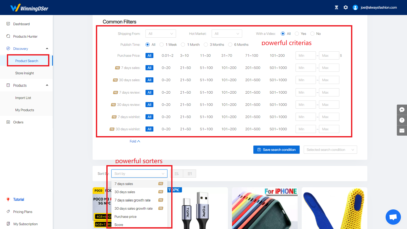 You can search in millions of products by multi-dimensions