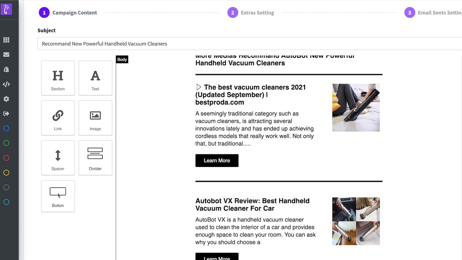 Email Marketing Newsletters Drag‑and‑drop builder