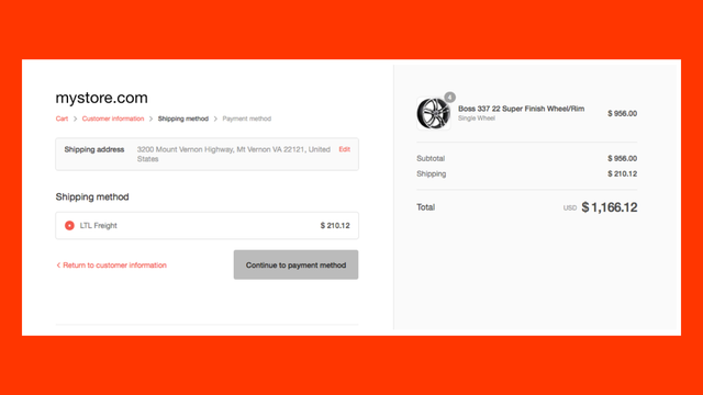 LTL freight quote on Shopify Shipping Methods page