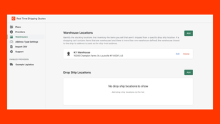 Real Time Shipping Quotes for Shopify Warehouse Settings