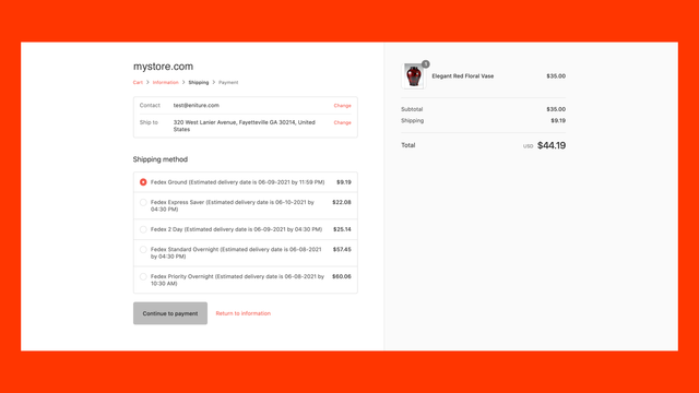 Parcel quotes on Shopify Shipping Methods page