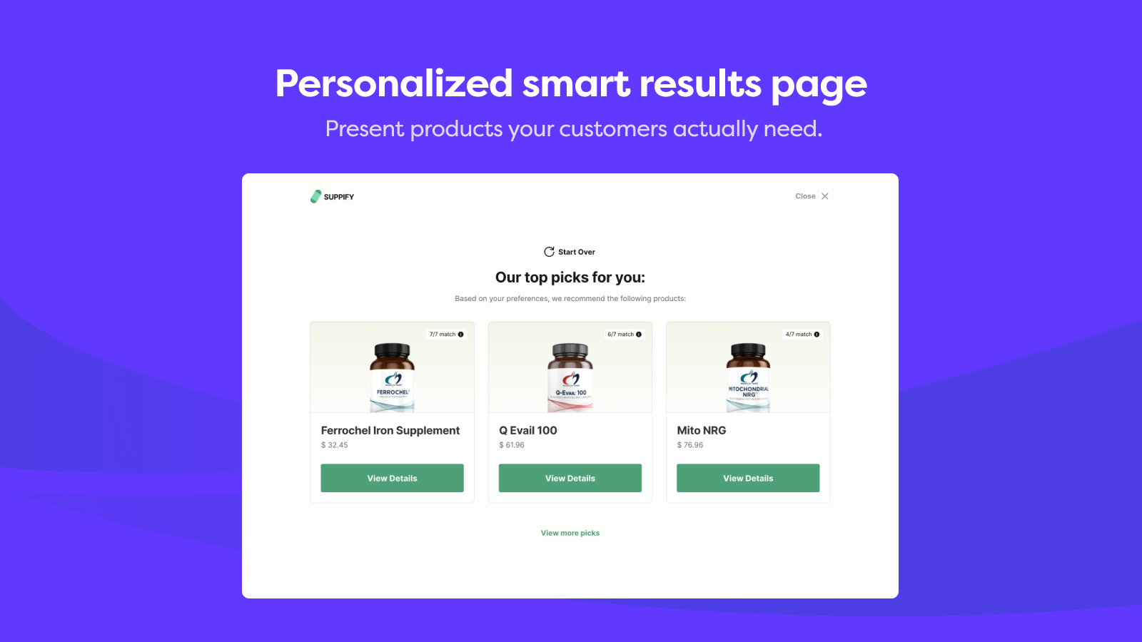 Personalized smart results page