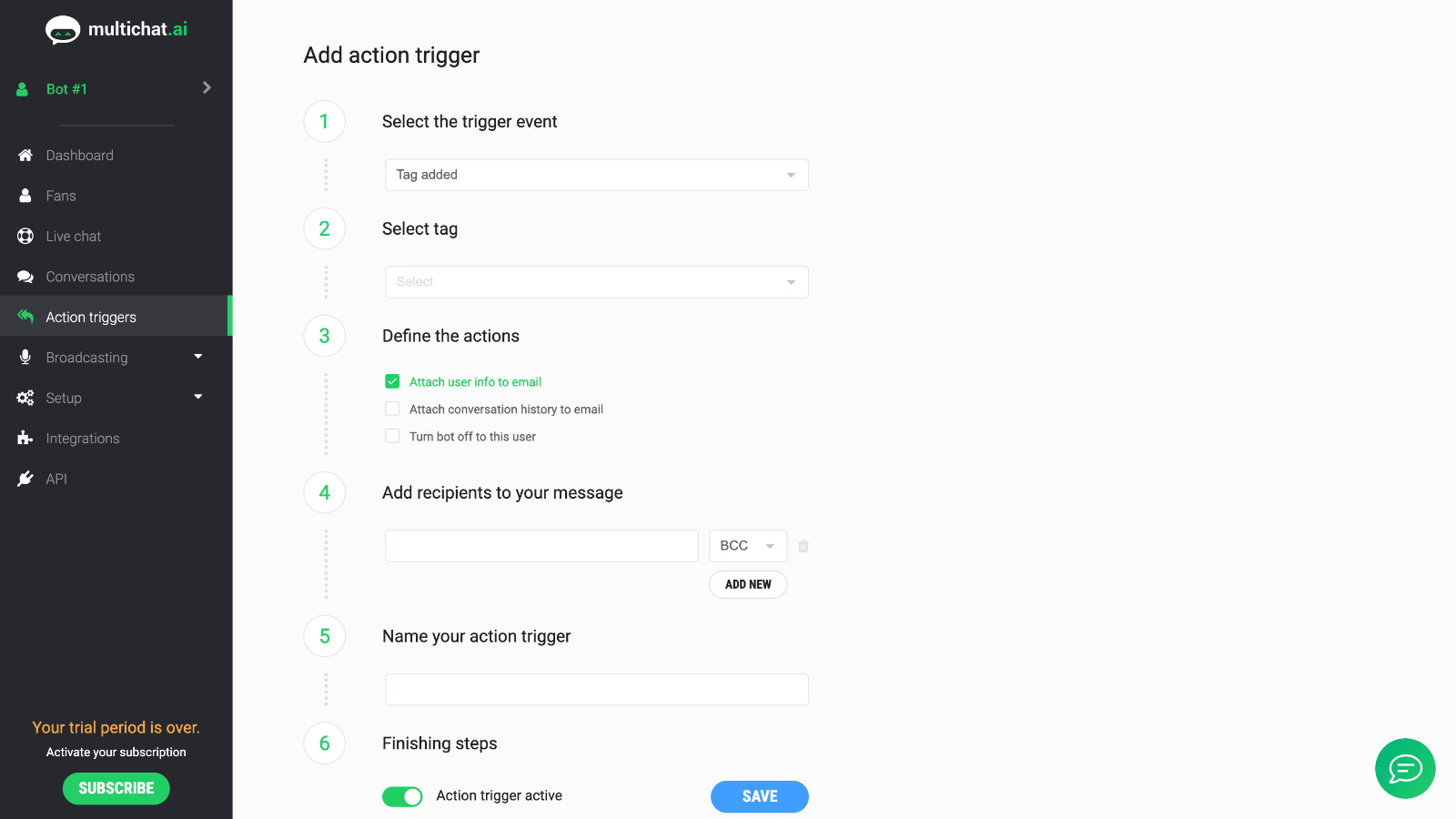 multichat.ai event based notifications