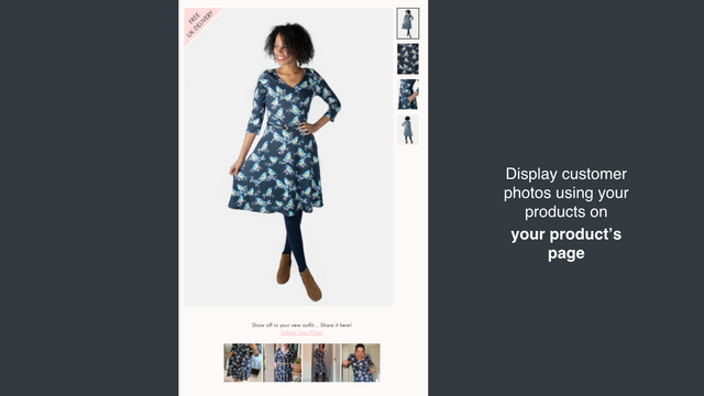 Display customer photos using your products