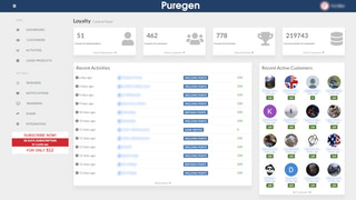 Main page of Puregen Loyalty app