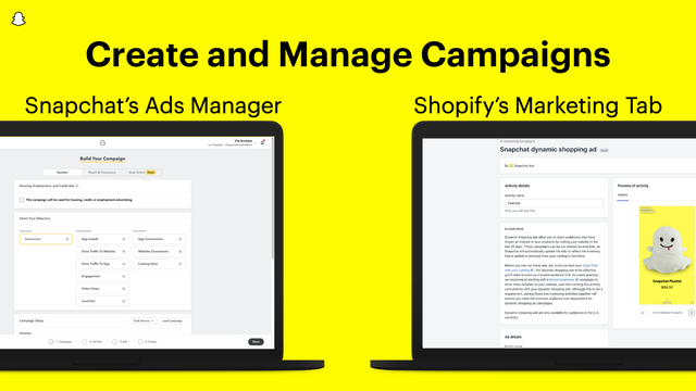Manage campaigns in Snapchat's Ads Manager or Shopify dashboard