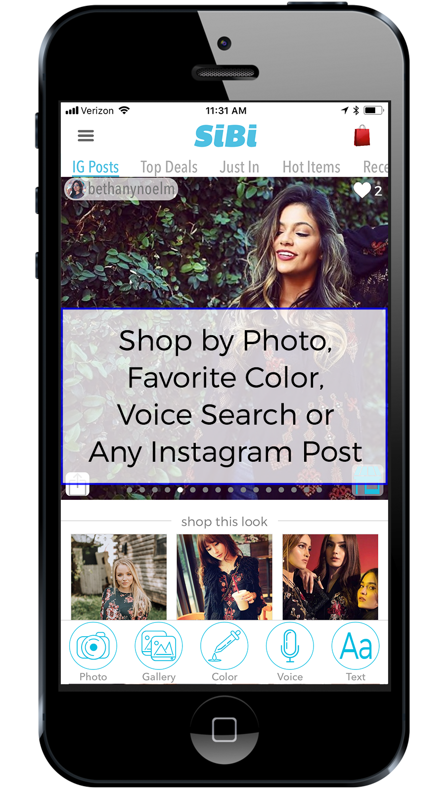 Shop by Photo, Color, Voice or IG Post