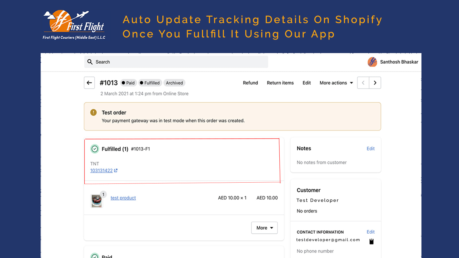Auto updating tracking details on Shopify once you fulfill it us