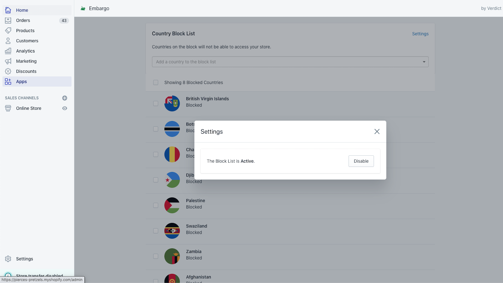 Disable or enable your block list with a click of a button.