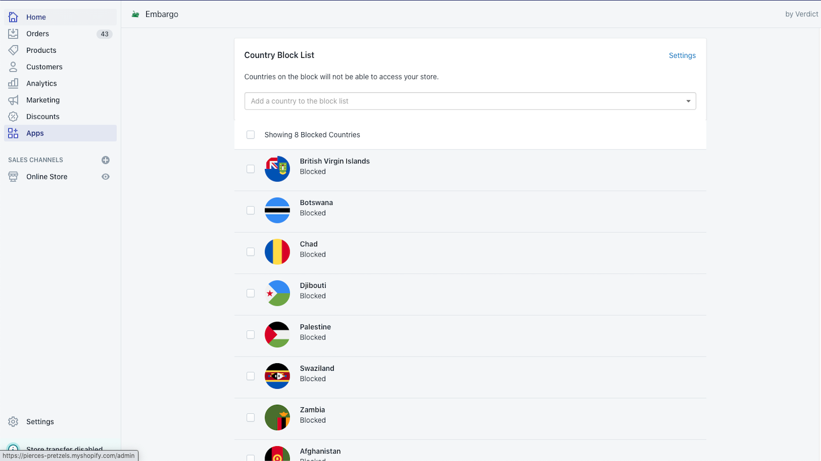 Easily manage which countries are on your block list.