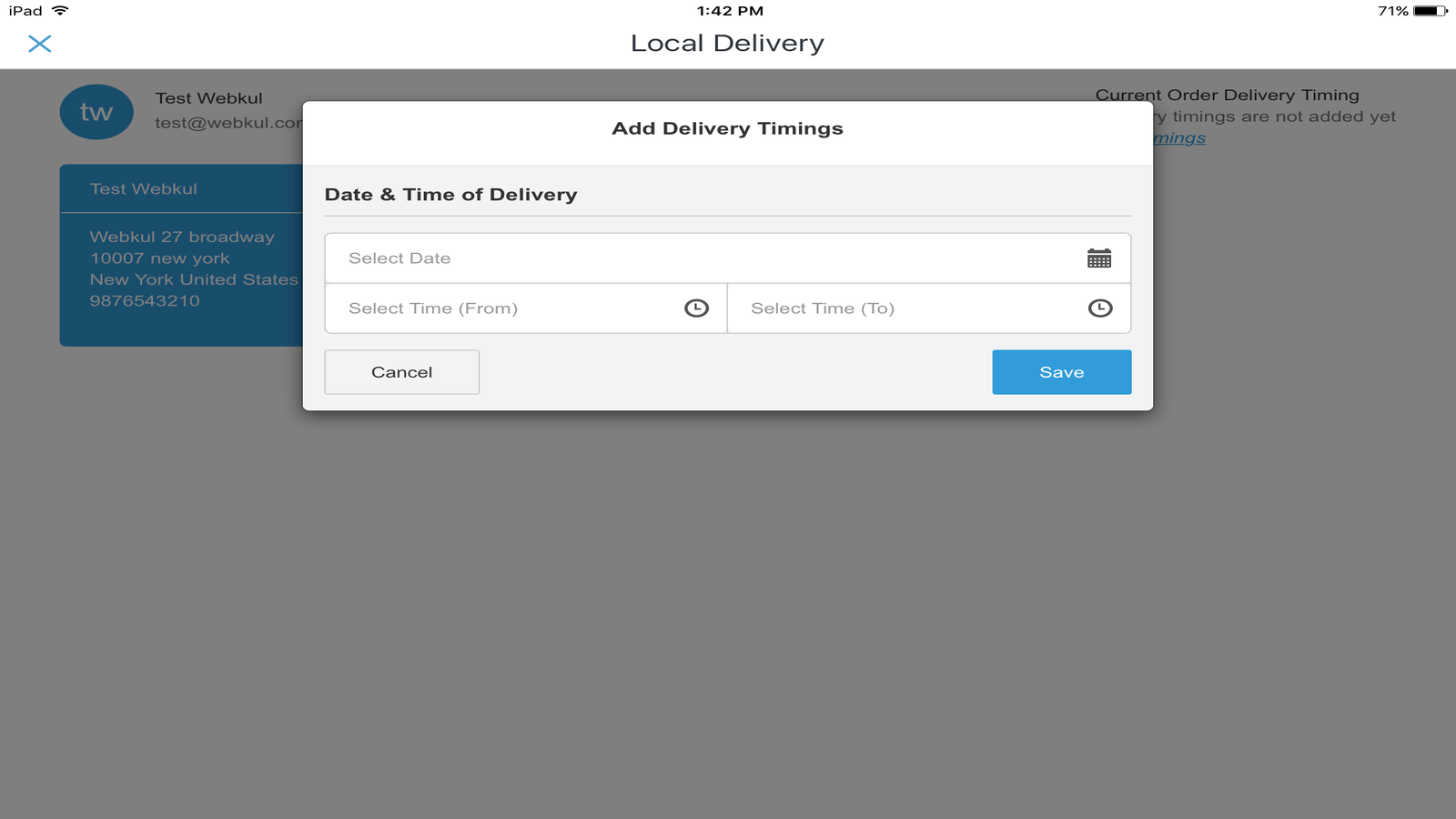add delivery time