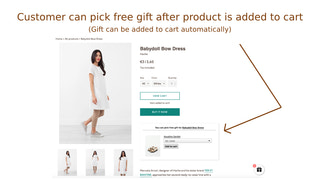 Customer can pick free gift after product is added to cart