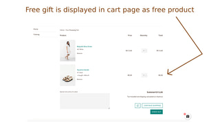 Free gifts are displayed in cart page as free products