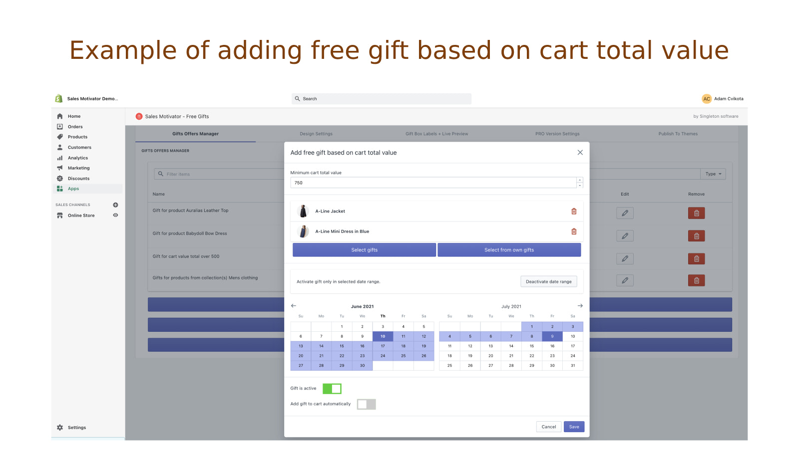 Example of adding free gift based on cart total value