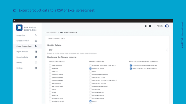 Generate a custom spreadsheet of your product data