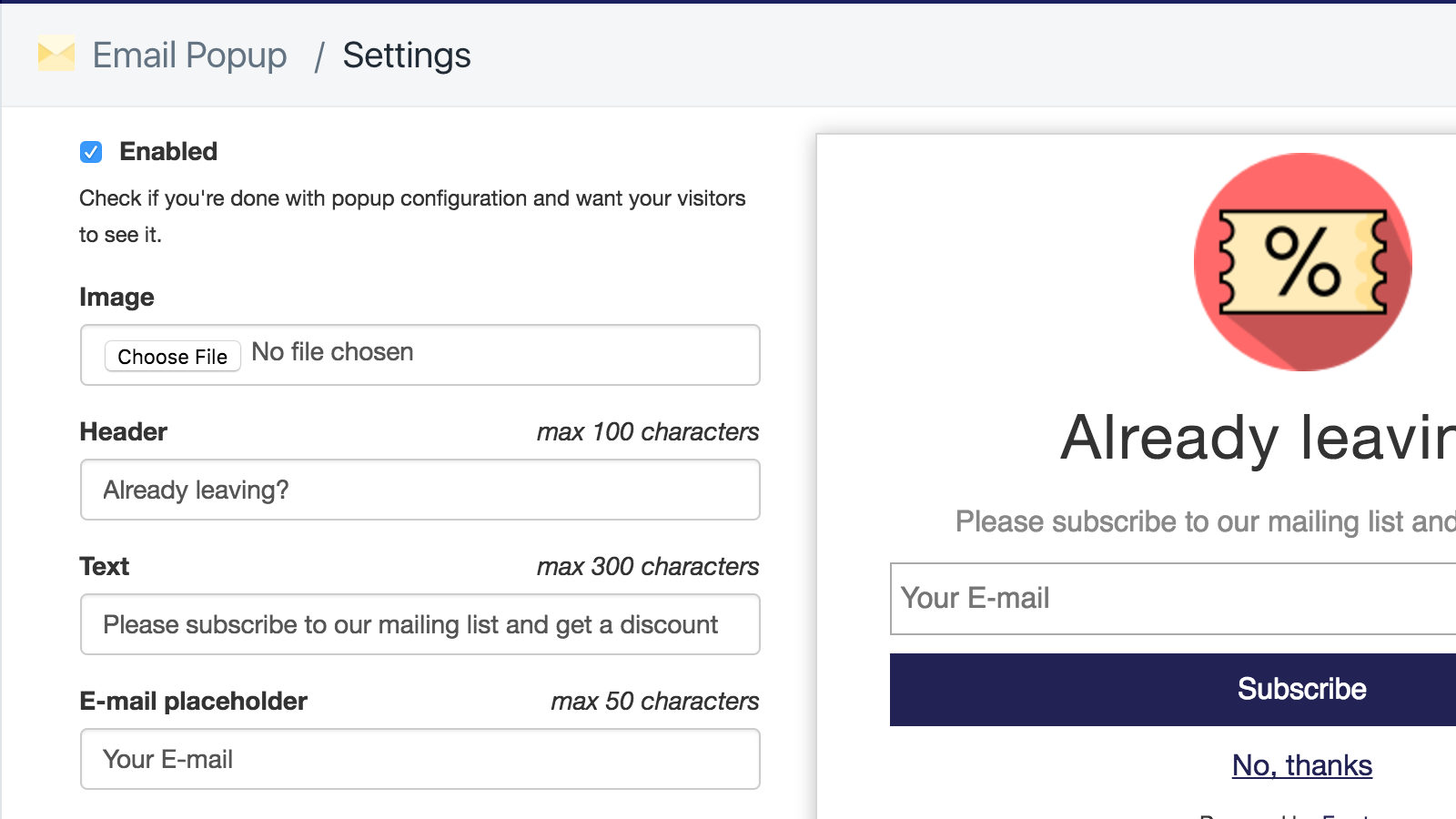 email popup settings