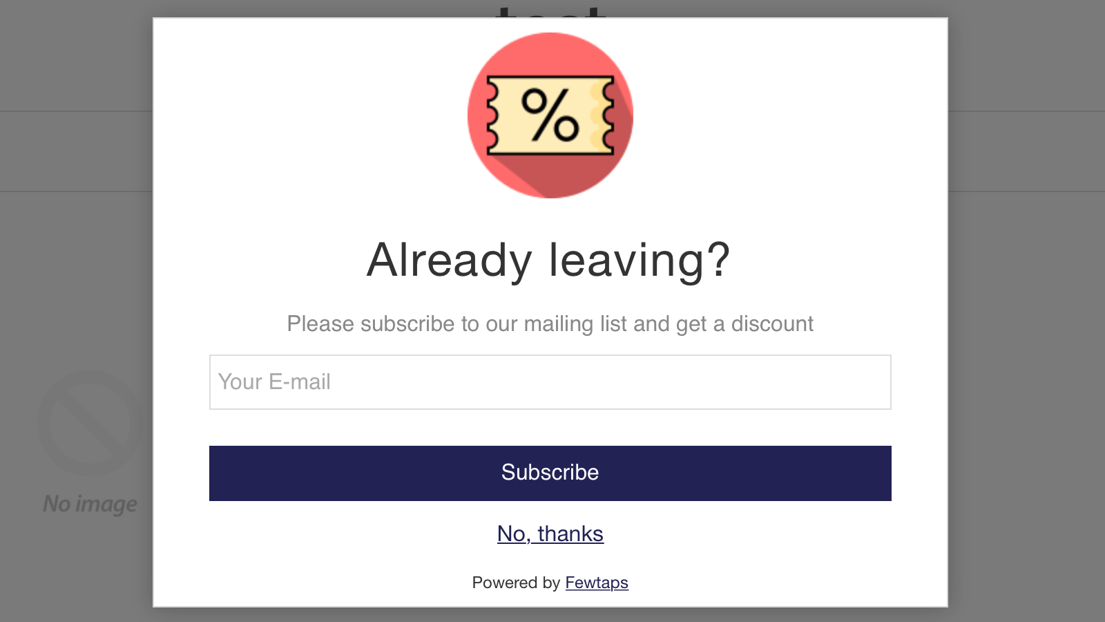 email popup in action