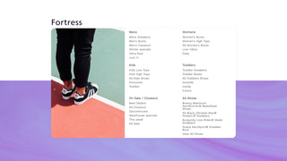 Fortress mega menu template with featured product image