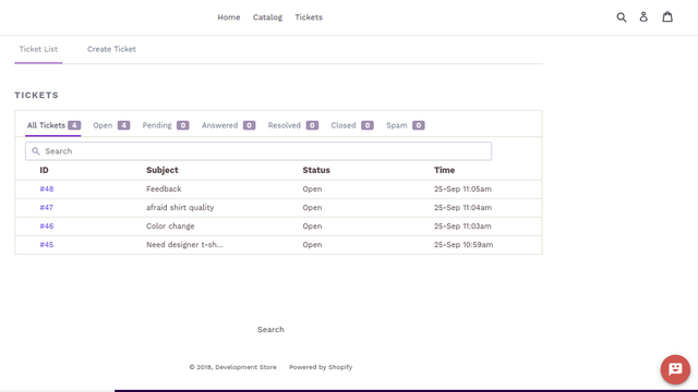 Shopify Helpdesk Customer Ticket View