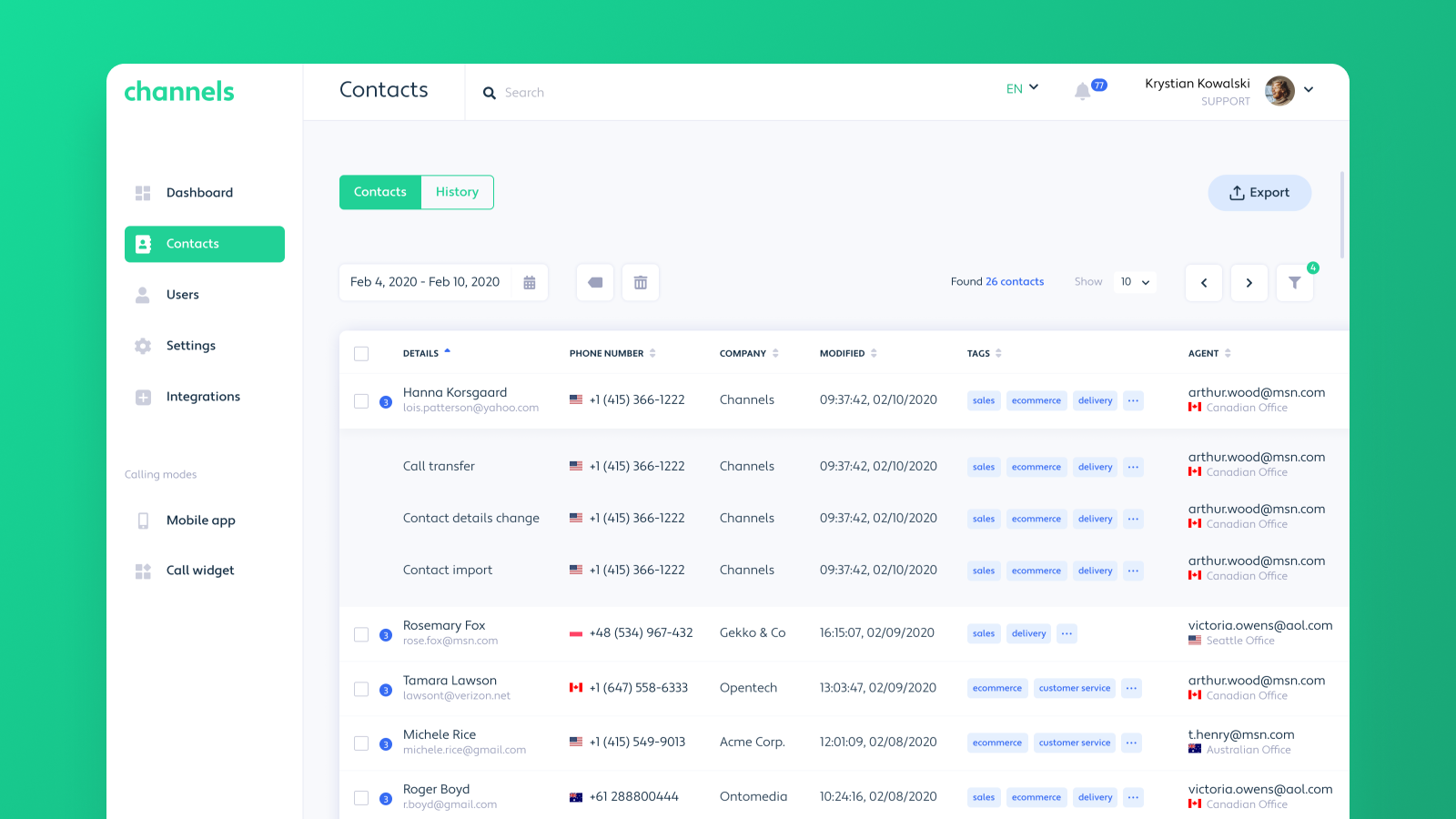 Contacts in Channels Web App