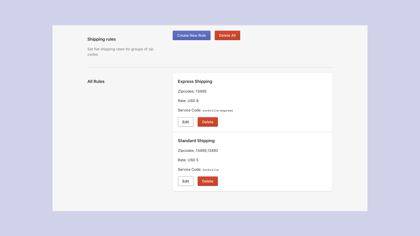 view edit and delete your shipping rules in the app dashboard