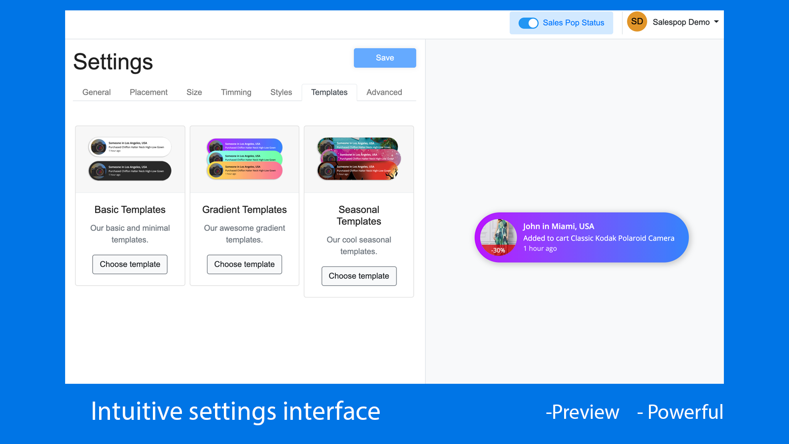 Intuitive settings interface