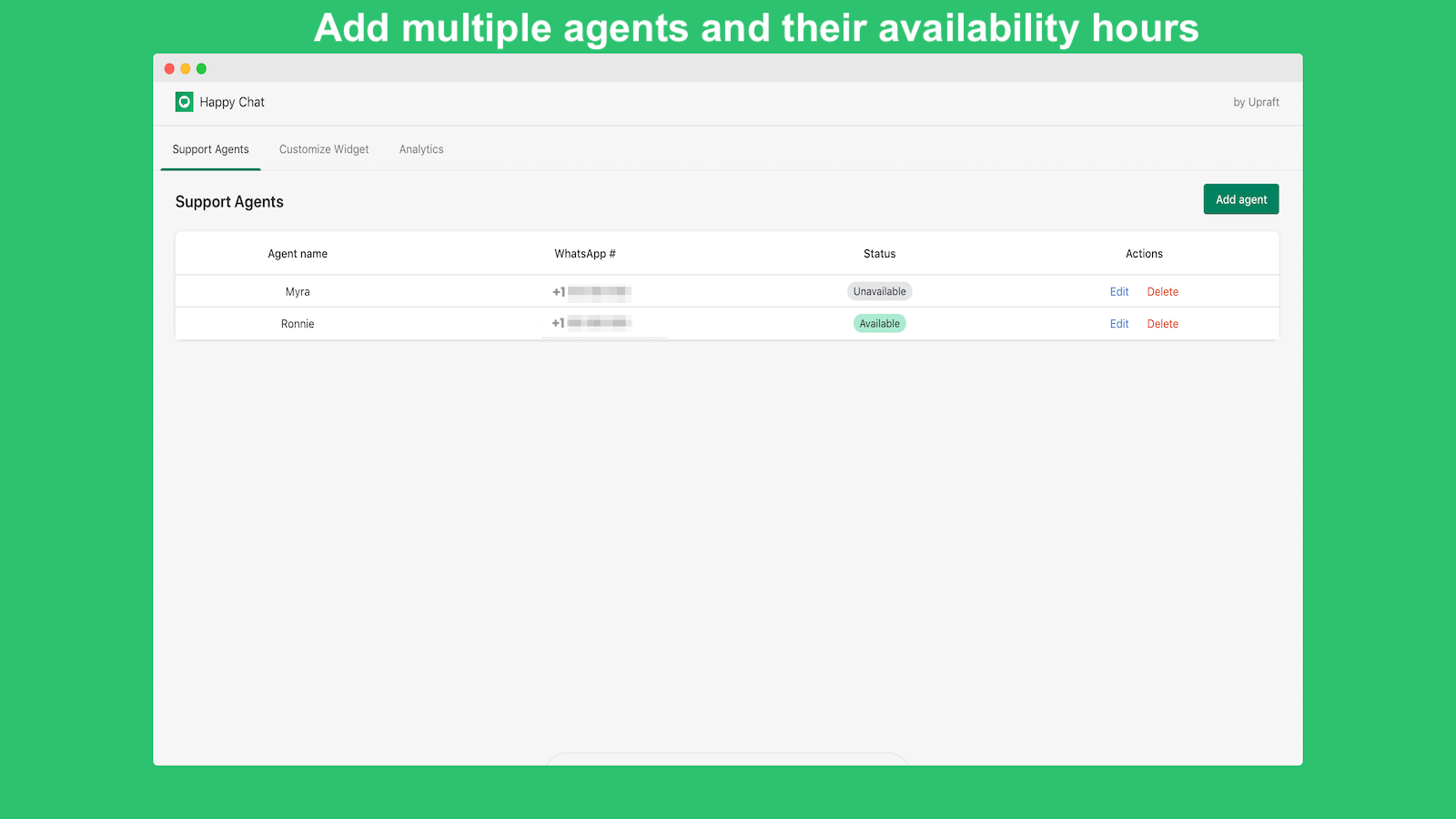 Whatsapp customer support with multiple agents for free