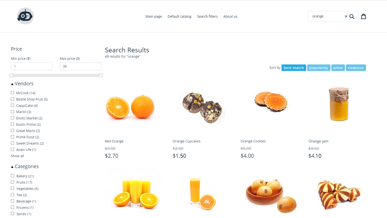 SumatoCommerce AI Search: UI search results & filters view