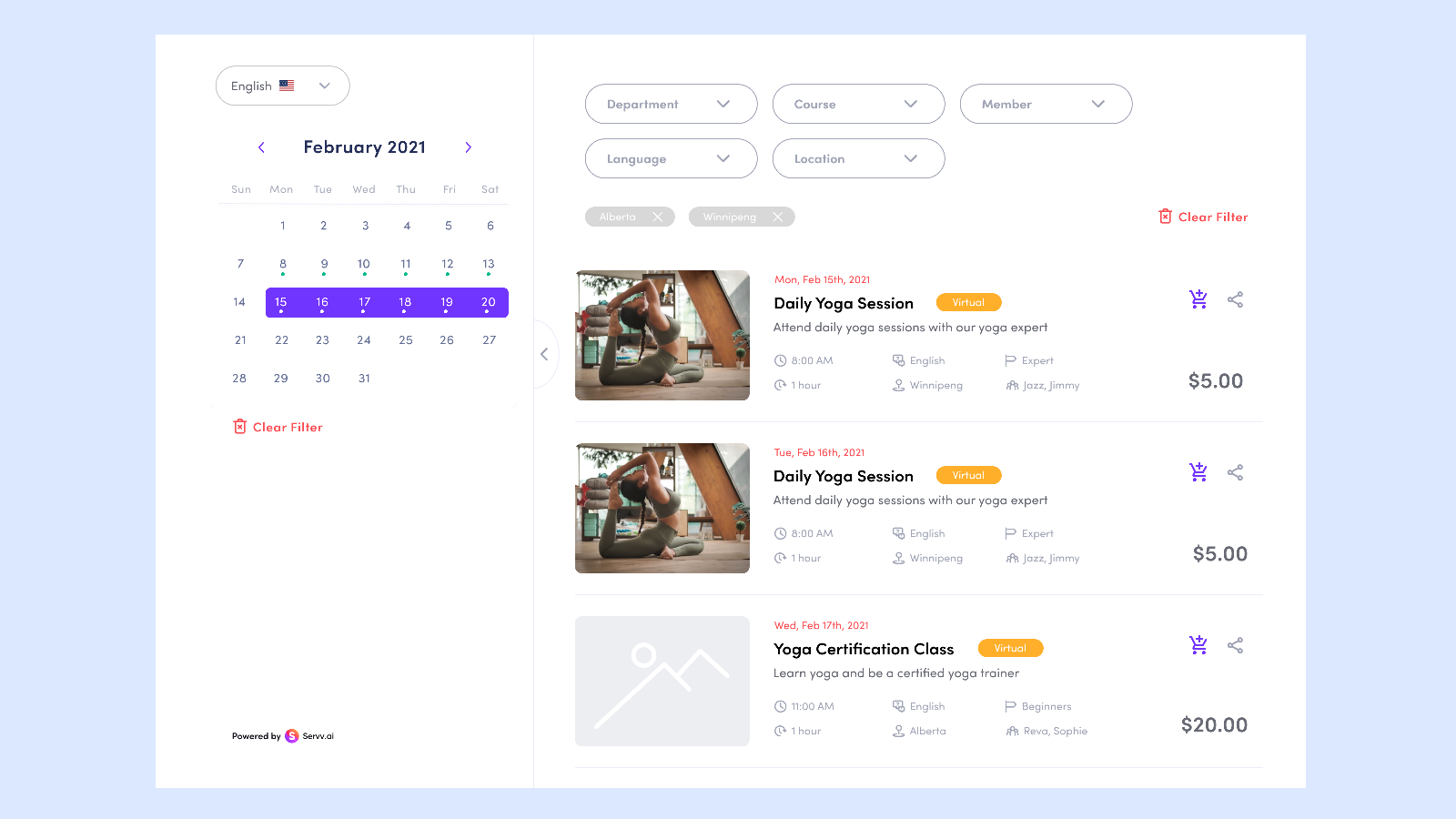Storefront view for customer bookings. Multi-user & Translations