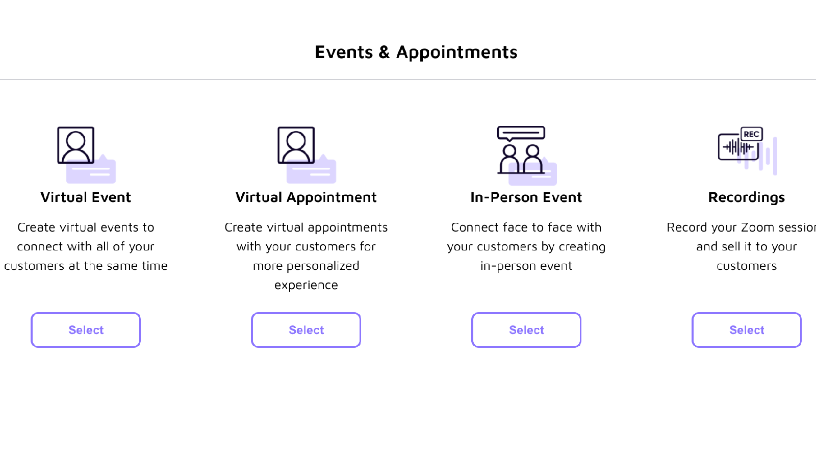 Online Events & Appointments, In-Person Events, and Recordings