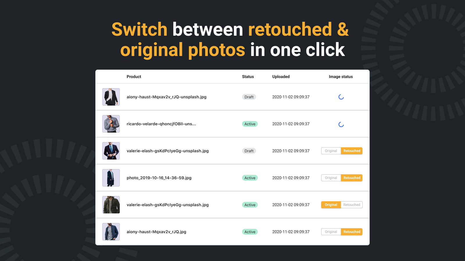 Switch between retouched and original images