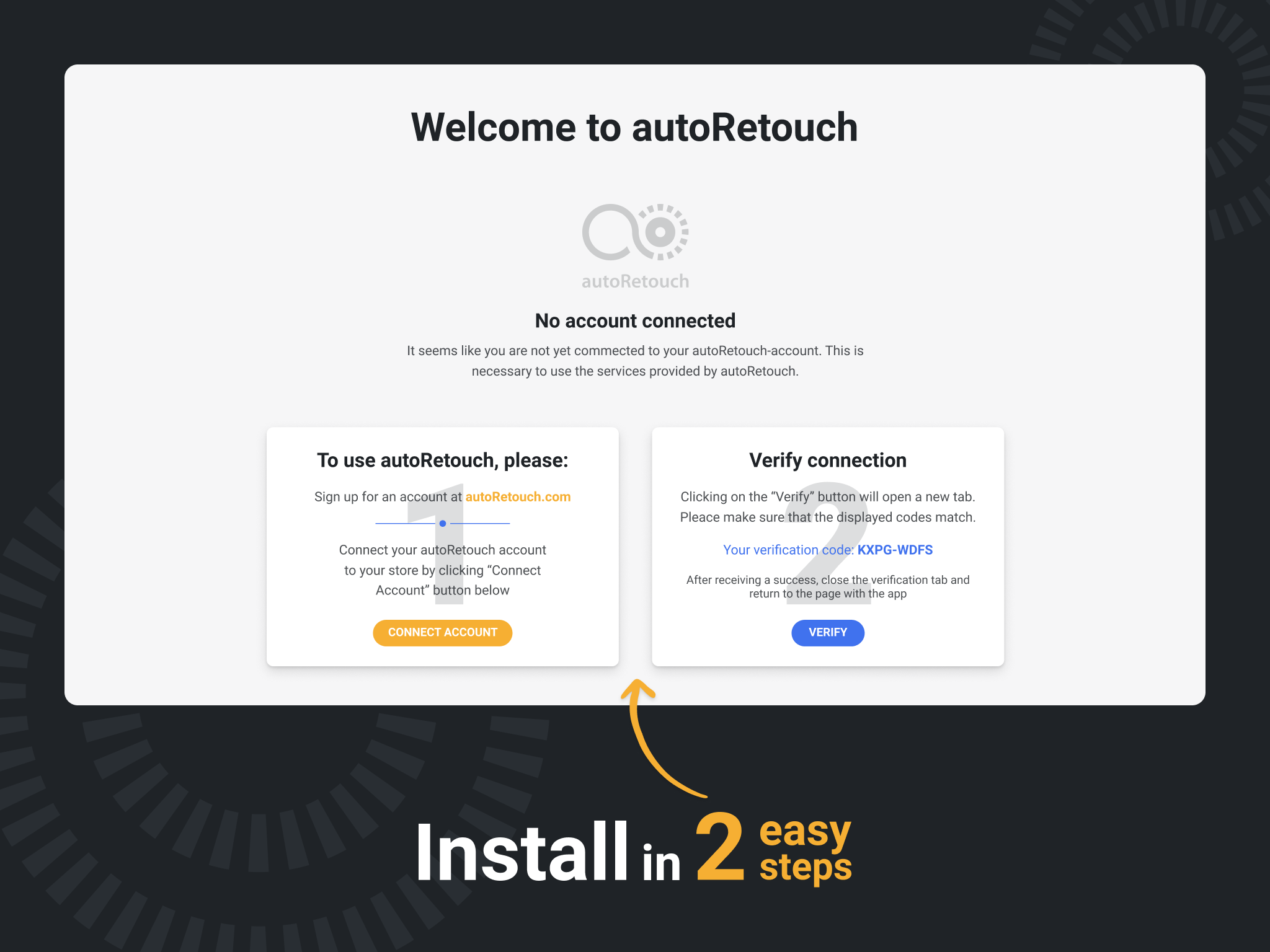 Install autoRetouch in two easy steps