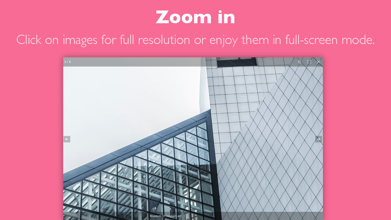 Zoom in and fullscreen image gallery modes in one click.