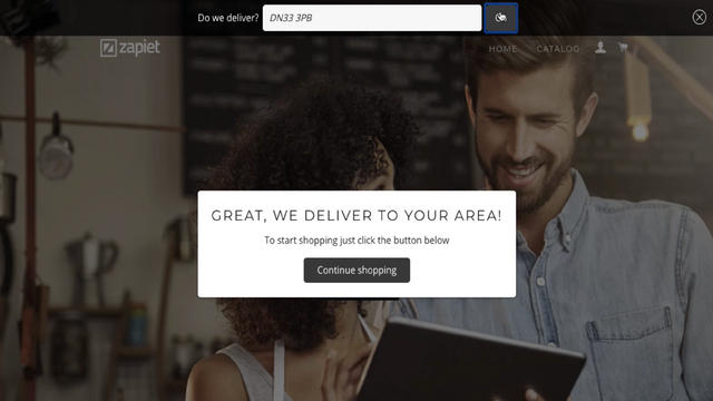 Check local delivery eligibility on your Shopify homepage