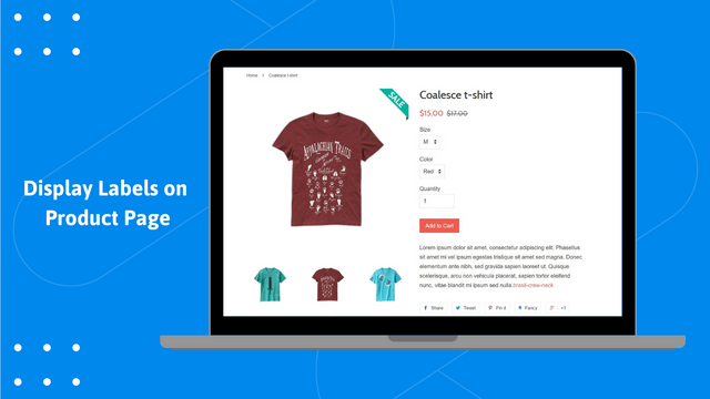 product labels on product page