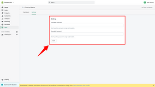 Add new user credentials to app settings page
