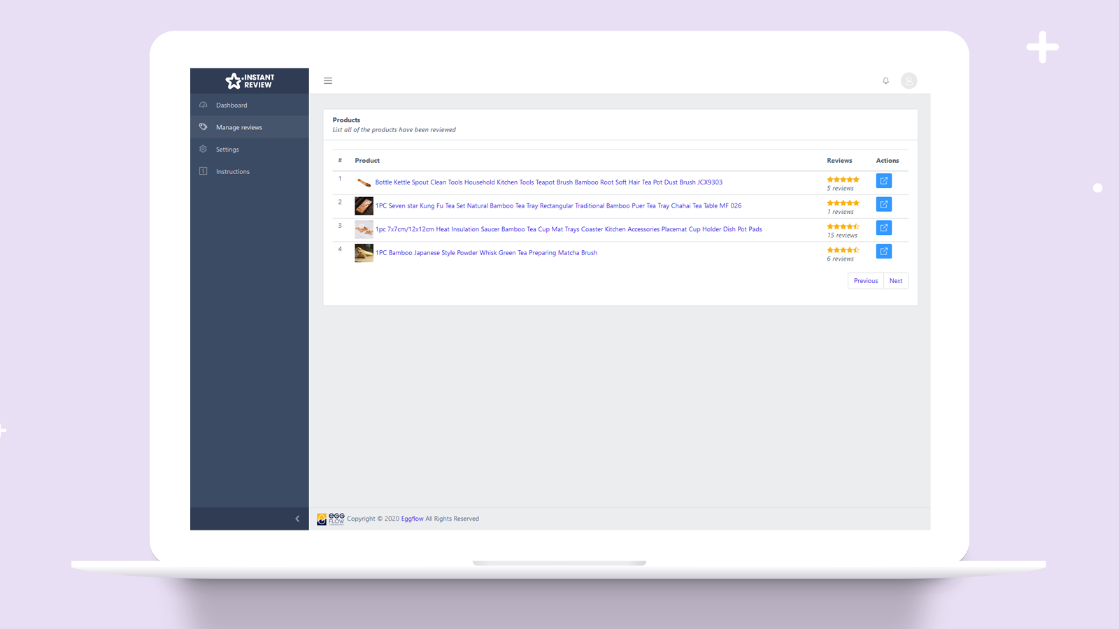 Dashboard overview about review products and product reviews