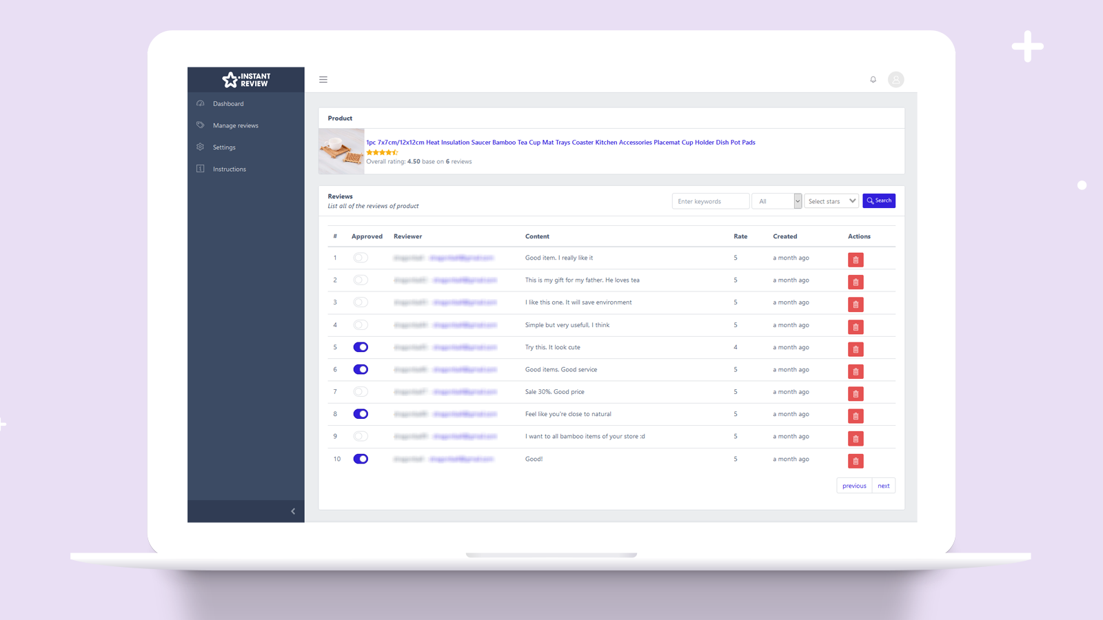 Manage product reviews from your customers