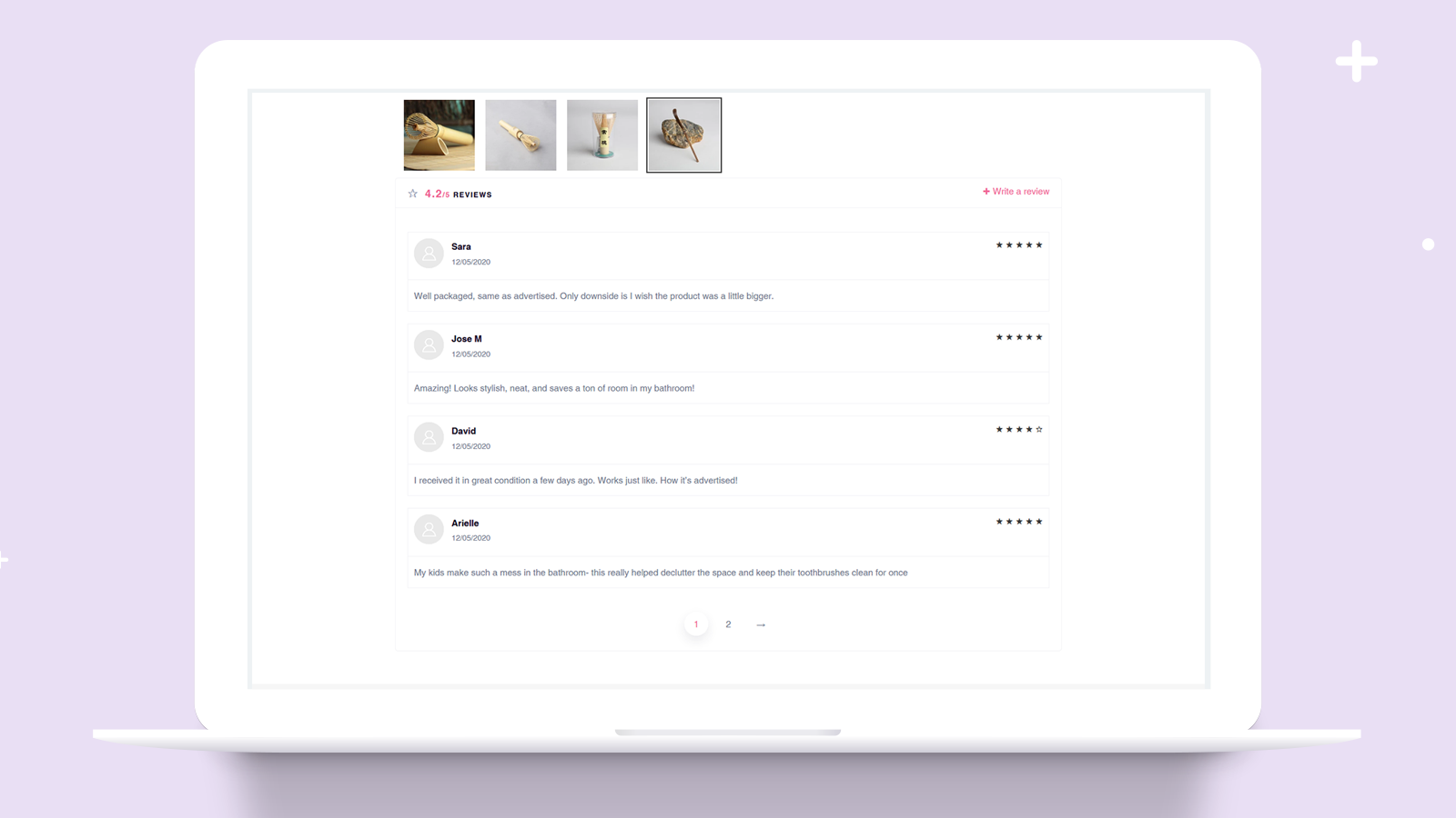 Display product reviews from your customers on desktop