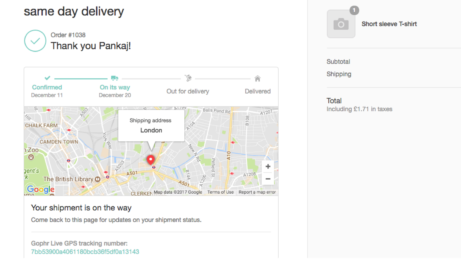 Live delivery updates for customer