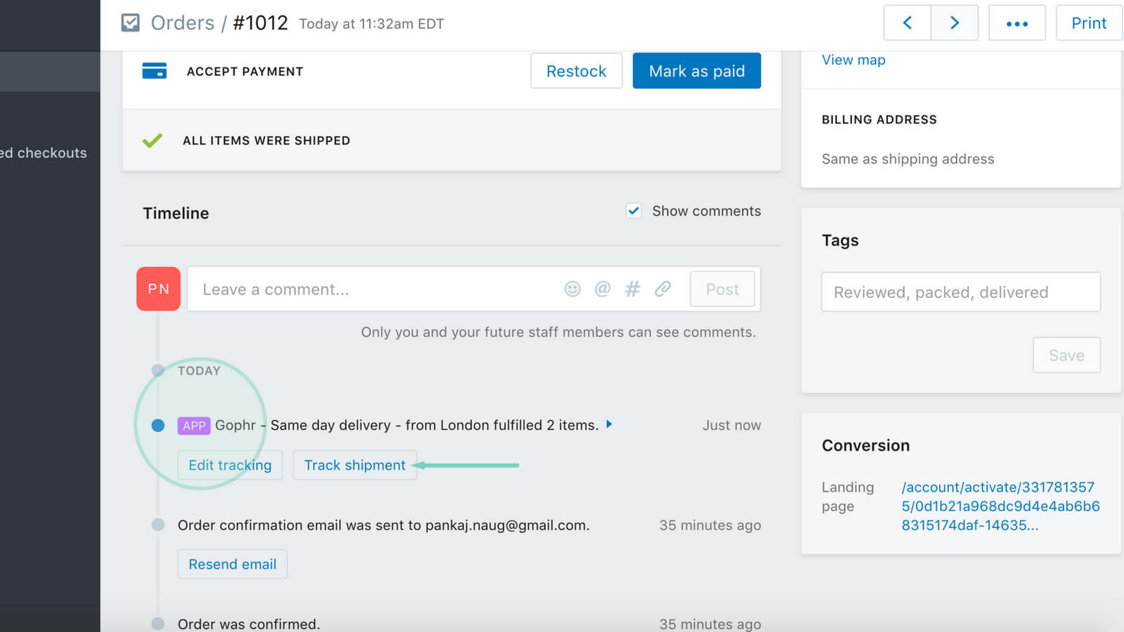Order updates right from Shopify backend
