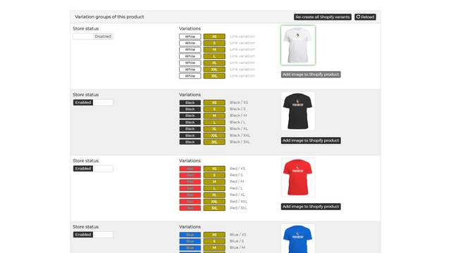 View your design on the different variation