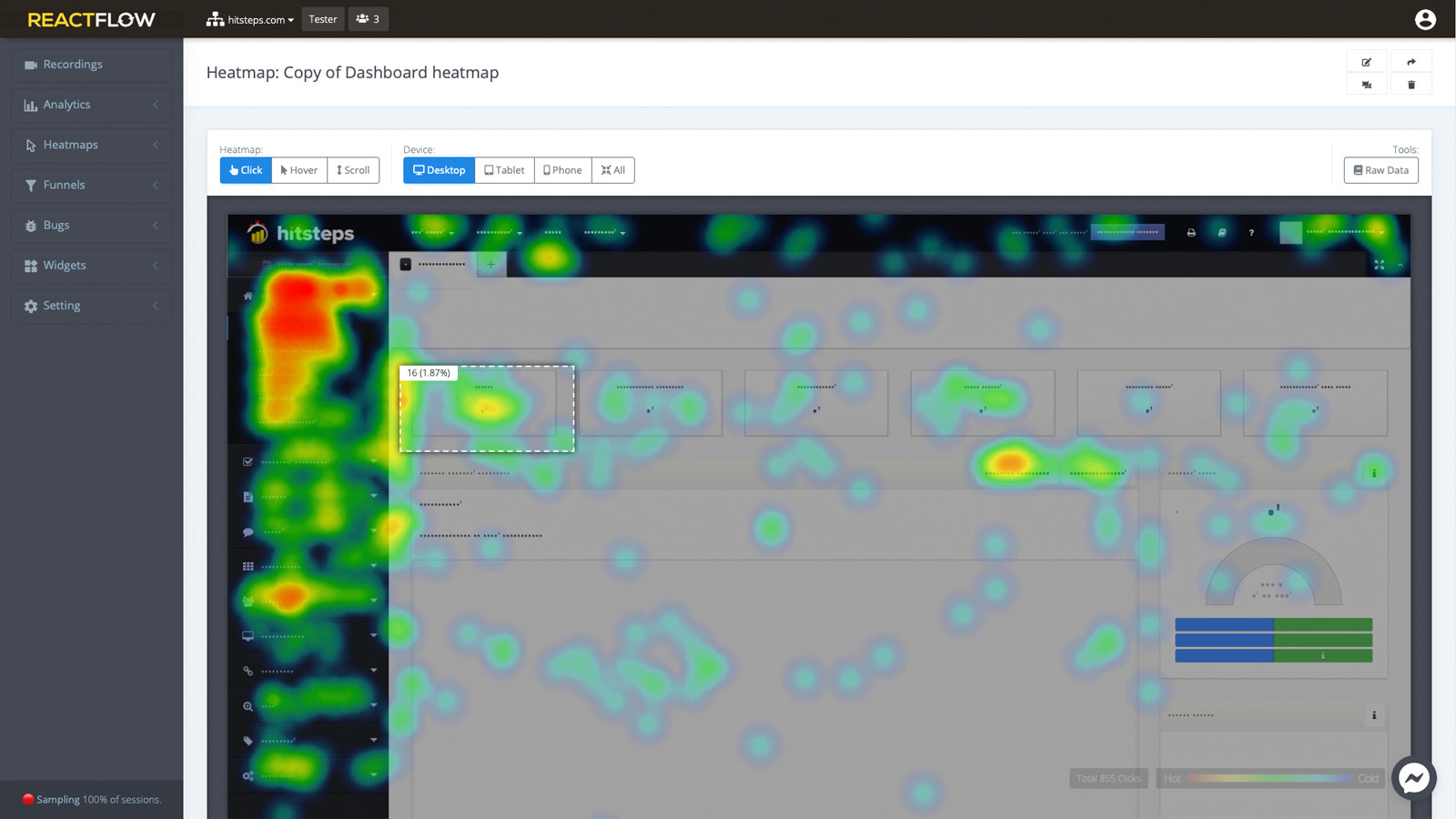 Generate heatmap reports based on clicks, mouse moves & scrolls