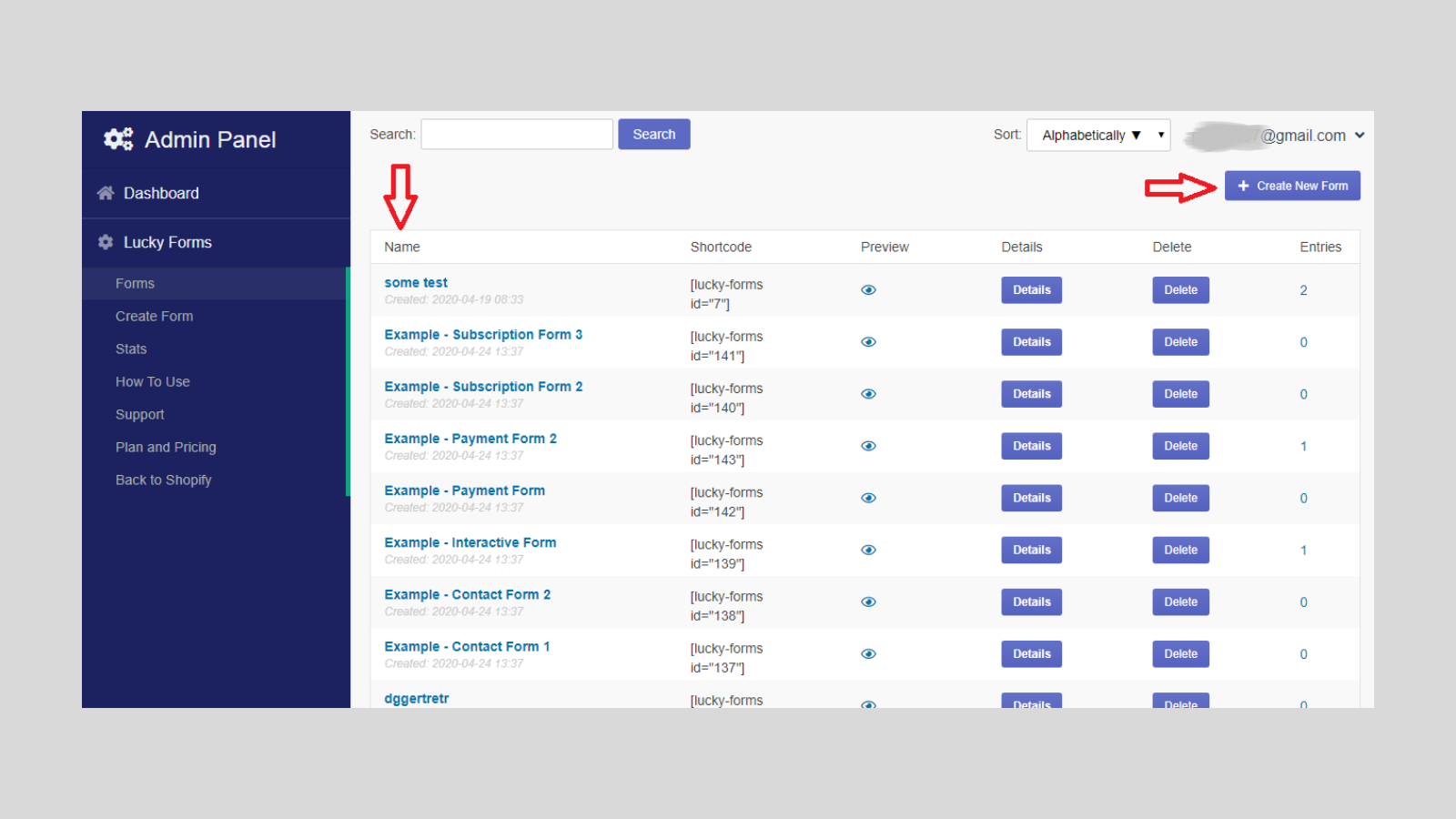 Form manage in admin