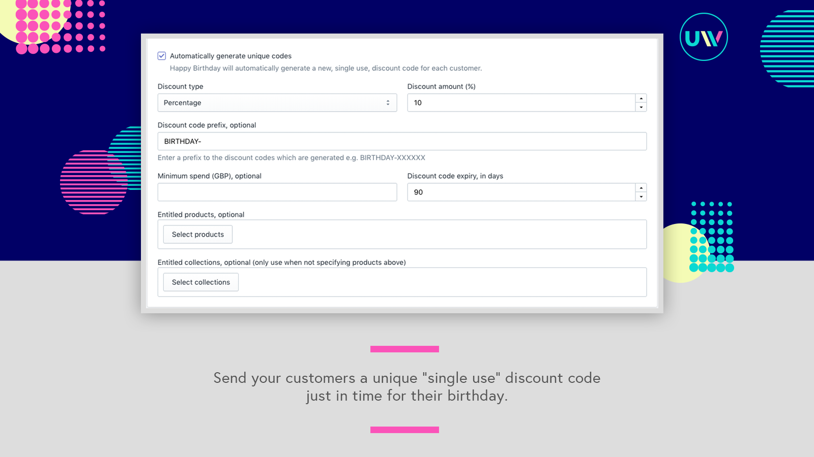 """Generate unique """"single use"""" discount codes for each customer"""