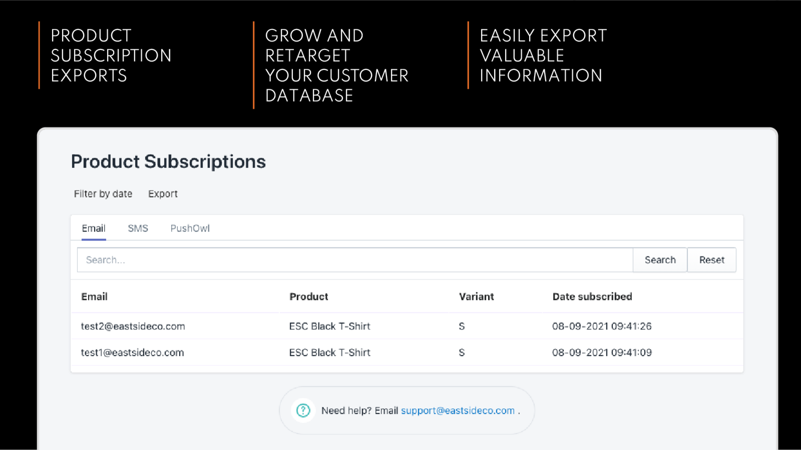 Filter and export customer subscriptions to your products