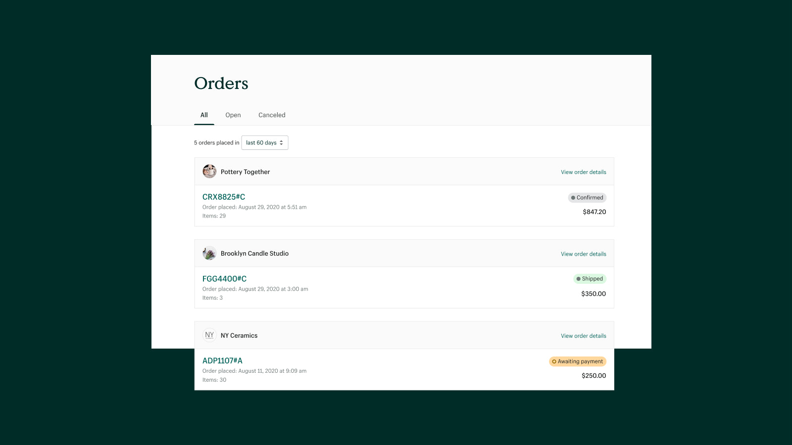 Easily track the status of every order placed on Handshake.