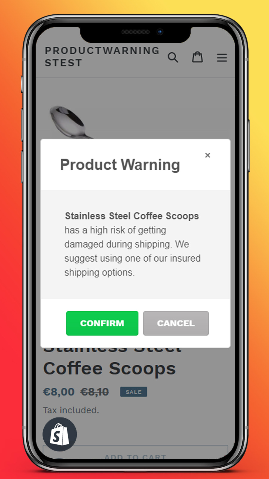 product warnings and notifications for mobile