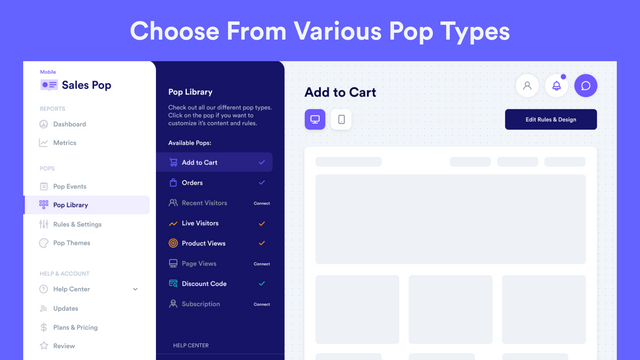 Choose From Various Pop Types