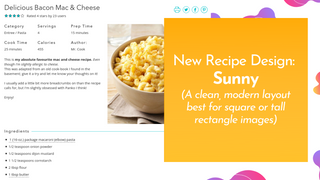 Sunny is Recipe Kit's newest modern and clean recipe card design